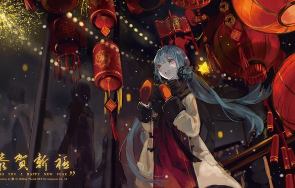 Picture girl, stars, joy, people, holiday, new year, anime, art, fireworks, vocaloid, bou shaku, xingchen