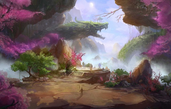 Picture trees, landscape, mountains, rocks, dragon, Asia, people, Sakura, art, spear, lanterns, fantasy world
