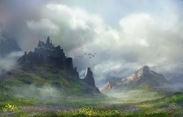 Picture clouds, flowers, mountains, birds, art, painted landscape