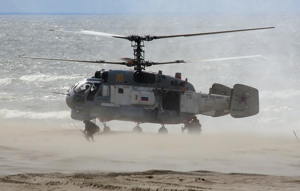Picture helicopter, landing, multipurpose, Ka-27, ship