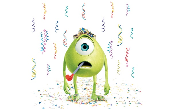 Picture green, holiday, white background, confetti, one-eyed, Inc., Monsters Inc., Monsters