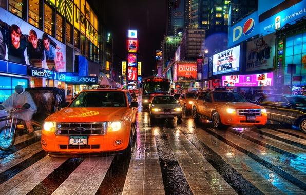 Picture night, new York, night, new york, usa, nyc, Times Square, Rain Dance