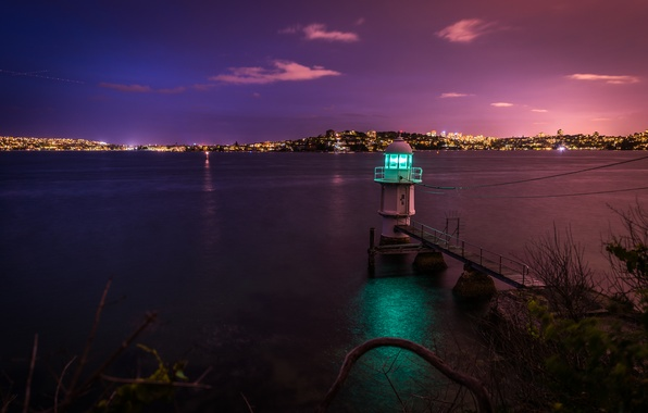 Picture night, the city, Strait, shore, lighthouse, Australia, Sydney, Bradley's Head