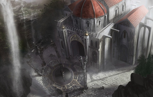 Picture the building, waterfall, statue, the dome, concept art, dungeon siege 3