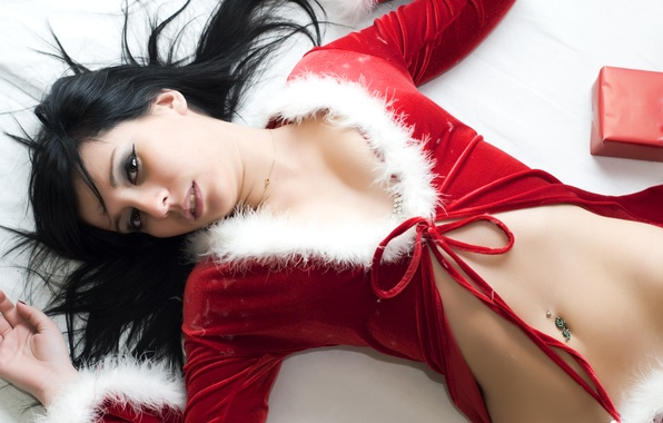 Picture girl, black, new year, Red, fur