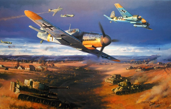 Picture tiger, war, figure, art, fighters, tank, USSR, aircraft, t-34, dogfight, bf-109, kV-1, nicolas trudgian, The …
