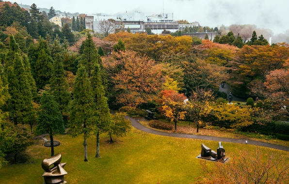 Picture grass, trees, nature, Park, photo, Japan, Open Air Museum, Hakone