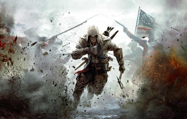 Picture war, flag, soldiers, America, assassin, Assassin's Creed III, Radunhageydu, the half-breed Indian, Connor Kenuey, The …