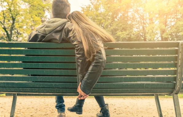 Picture girl, bench, Park, guy, date, Romance