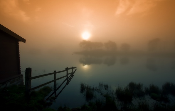 Picture the sun, sunset, fog, lake, fence, the barn, Scotland, Scotland