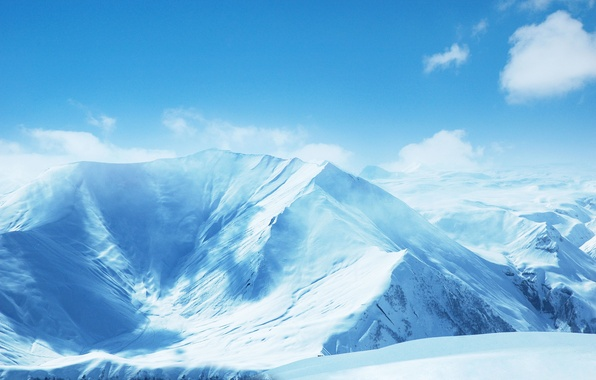Picture the sky, clouds, landscape, mountains, blue, Mountains, snowy, hillside