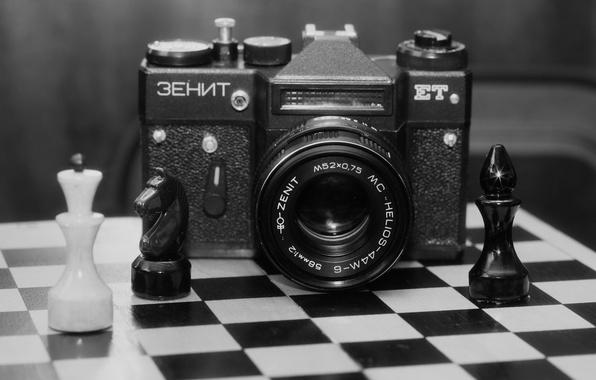 "Picture background, blur, the camera, Board, figure, mirror, Soviet, single lens reflex cameras, ""Zenit-EM"", chess"