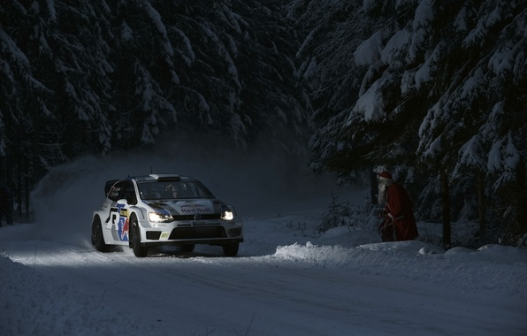 Picture Auto, Night, White, Snow, Forest, Volkswagen, Machine, Light, Lights, Red Bull, WRC, Rally, Polo, Santa …