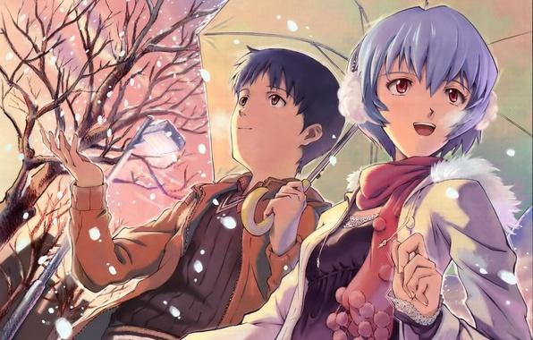 Picture girl, snow, tree, street, umbrella, lantern, guy, neon genesis evangelion, ayanami Rei, it became shinji, …