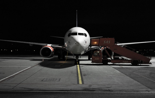 Photo wallpaper night, the plane, airport