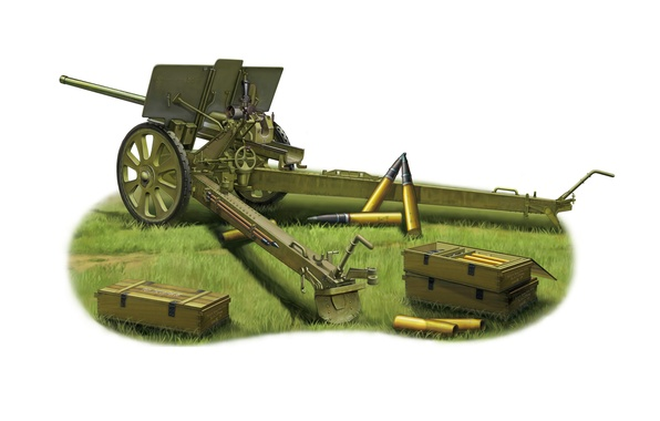 Picture model, art, gun, USSR, WWII, artillery, name, Soviet, WW2., OBR, 76 mm, divisional, F-22, semi-universal, …