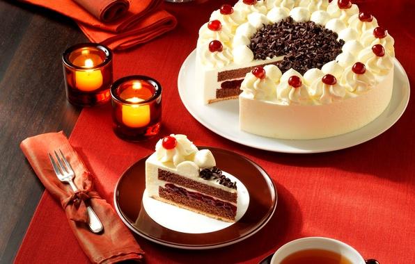 Picture tea, food, candles, plate, cake, plug, cream, dessert, cakes, jam, cherries, the cake, chocolate chips