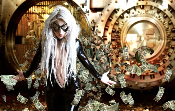Picture girl, money, mask, the Bank, robbery