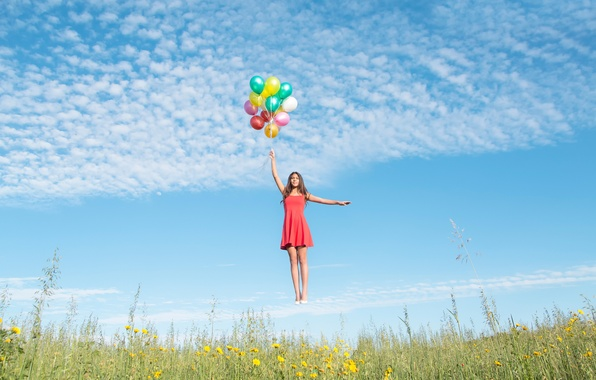Picture girl, balls, dress, flight