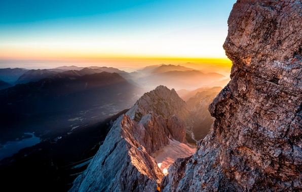 Picture Red, Blue, Landscape, Sun, Germany, Mountain, Sunrise, Travel, Tyrol, Hiking, Torsten Muehlbache, Places