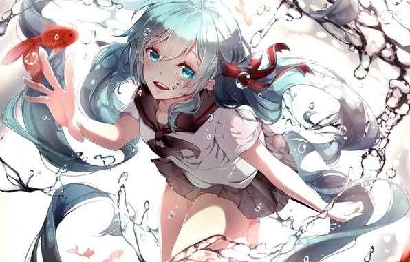Picture water, girl, fish, anime, art, form, vocaloid, bottle miku, phino, jinko0094