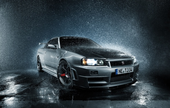 Picture GTR, Nissan, Skyline, front, R34, silvery, droplets of water, PEOPLE