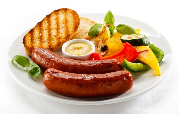 Picture sausage, food, bread, vegetables, sauce