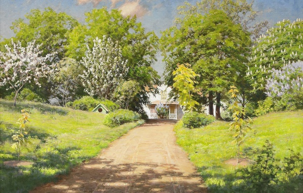 Picture road, greens, clouds, trees, landscape, flowers, house, shadow, picture, spring, Sunny, the bushes, lilac, cottage, …