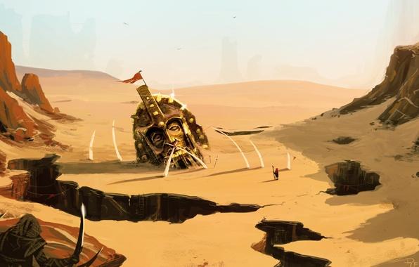 Picture sand, landscape, weapons, fiction, rocks, desert, people, head, war, art, helmet, statue, failures