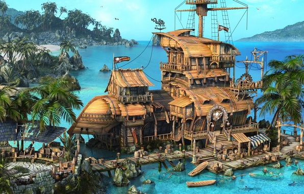 Picture sea, palm trees, ship, gun, boats, flag, pirates, Fort, Pirates, sea, barrels, ship, rendering, boats, …