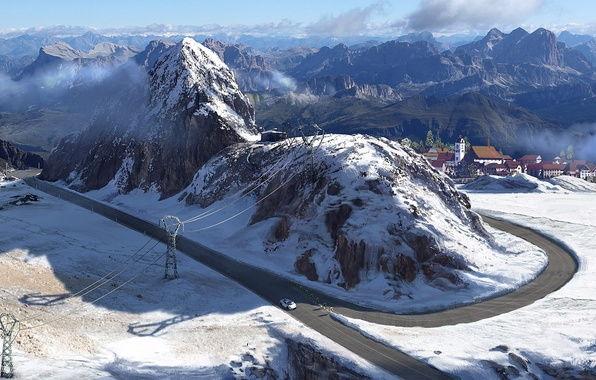 Picture road, machine, snow, mountains, art, town, power lines