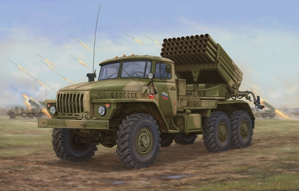 Picture art, artist, Russia, power, combat, system, various, Soviet, Ural, fire, live, caliber, database, defeat, MLRS, …