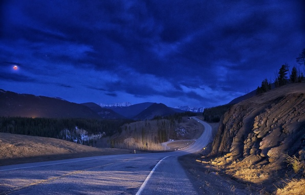 Picture road, the sky, clouds, light, rocks, the moon