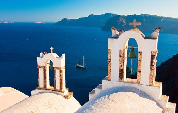 Picture Islands, yacht, Santorini, Greece, bell, Santorini, Oia, Greece, The Aegean sea