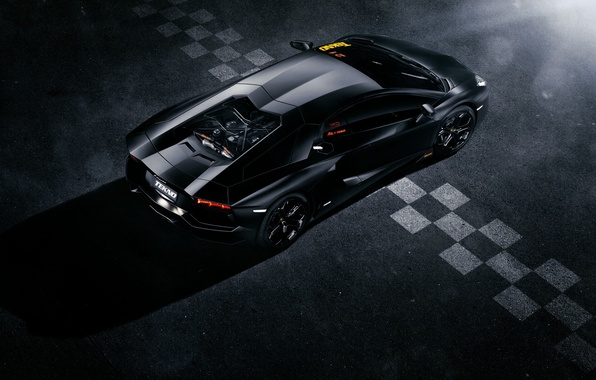 Picture Lamborghini, Black, Line, LP700-4, Aventador, View, Supercar, Rear, Top, Ligth, Finisg