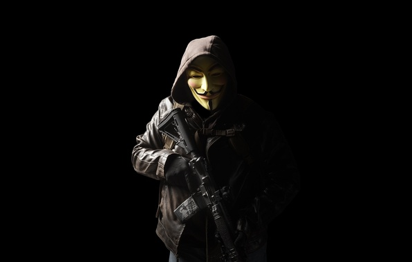 Picture weapons, mask, hood, male, assault rifle