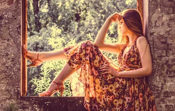 Picture dress, window, shoes, sunlight