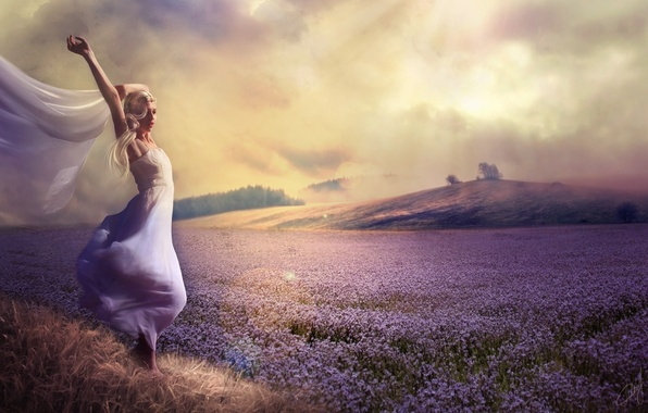 Picture field, girl, flowers, nature, dress, hill, lavender