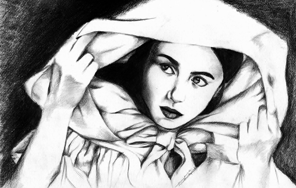 Picture eyes, look, girl, face, background, hands, cloak, painting, Cape