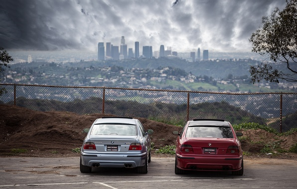 Picture the sky, red, clouds, the city, blue, bmw, BMW, the fence, red, blue, back, e39