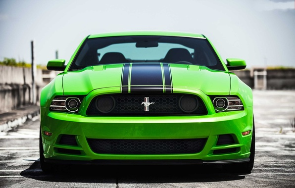 Picture green, mustang, Mustang, green, before, ford, Ford, boss, boss 302, black stripes