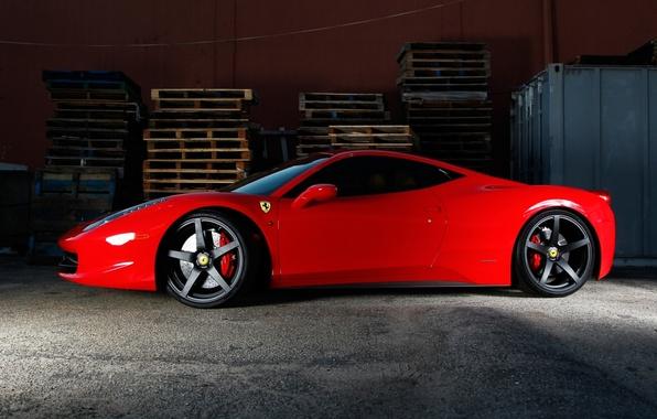 Picture red, profile, red, ferrari, Ferrari, Italy, 458 italia, tinted, black rims