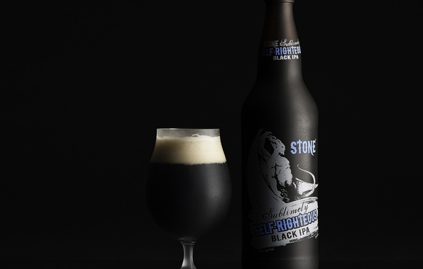 Picture glass, bottle, beer, drink, dark