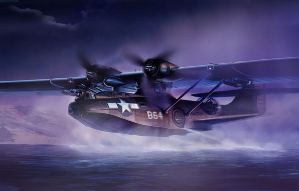Picture war, art, painting, aviation, ww2, Consolidated PBY Catalina