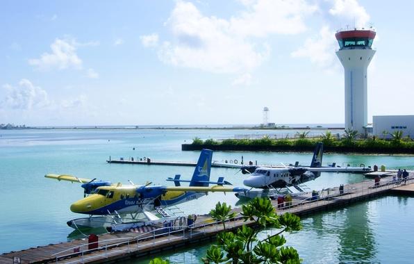 Picture aircraft, airport, The Maldives, seaplane, floatplane, Trans Maldivian, Efficiency, the control tower