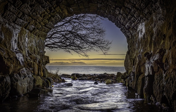 Picture Bridge, Scotland, Tunnel, Seascape