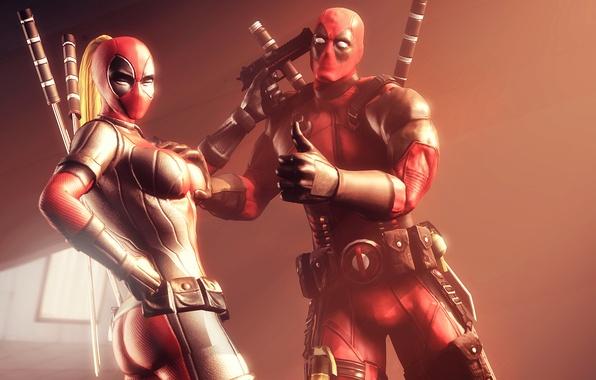 Picture Deadpool, Deadpool, mercenary, Marvel Comics, Wade Wilson, antihero, supervillain, Wanda Wilson, Lady Deadpool