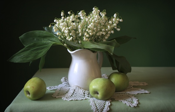 Picture Apple, bouquet, still life, lilies of the valley