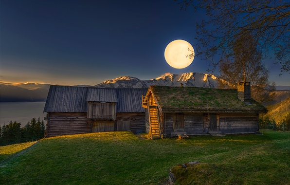 Wallpaper Mountains The Moon Morning The Barn Good
