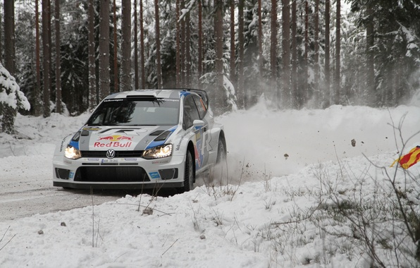 Picture Snow, Forest, Volkswagen, Turn, Skid, WRC, Rally, Polo, S. Ogier, J. Ingrassia